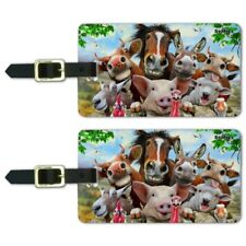 Farm Selfie Horse Pig Chicken Donkey Cow Sheep Luggage ID Tags Cards Set of 2