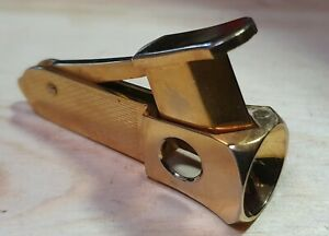 """GOLD PLATED COMPACT SIZE  """"DECO MACHINE TURNING"""" CIGAR CUTTER."""