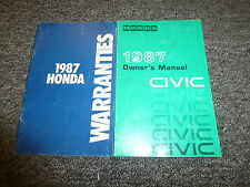 1987 Honda Civic Hatchback Wagon Sedan Owner Owner's Manual User Guide DX S