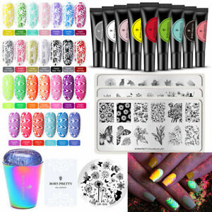 BORN PRETTY 8ml  & Fluorescent Stamping UV Gel Stamp Plates Stamper Scraper