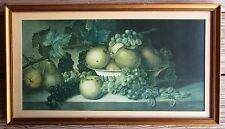 "Vintage Art Print James Peale Fruits Corcaran Gallery 17 x 30"" Framed"