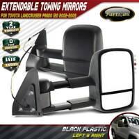 Black Extendable Towing Mirrors for Toyota Landcruiser Prado 120 Series 02-09