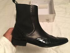 DOLCE GABBANA Black Leather Wingtip Dress Ankle Boots Sz 43 Italy 9 US