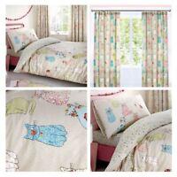 Kids Duvet Covers Beige Cheeky Cats Cute Reversible Print Quilt Bedding Sets