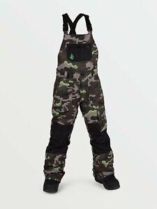 2021 NWT YOUTH VOLCOM BARKLEY BIB OVERALL SNOWBOARD PANTS $170 M Army 2 layer