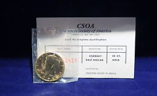 1972 Kennedy Half Dollar Gold Plated Collectors Society of America w/certificate