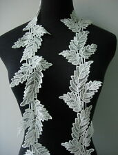 """OT129 3 6/8"""" Wide Leaves Leaf Venise Venice Lace Off-white 1y Sew/Design/Craft"""