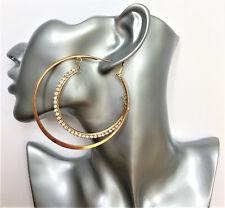 Gorgeous Big Pale Rose Gold Double Hoop Diamante Dangle Drop Earrings