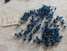 lot 200 PERLES anciennes en cristal bohème à facettes bleu indicolite ab 6mm