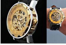 Lujo Para hombres Reloj Esqueleto Manual Wind Up Calidad Bling Hip Ho Reloj últimos