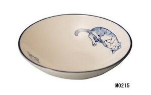 Japanese Vintage Blue Cat Pottery Small Bowl Neko Ceramic Salad Bowl 04402