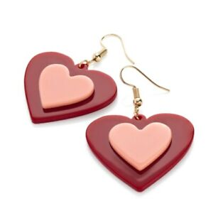 Retro Style Acrylic Red Pink Heart Dangly Earrings