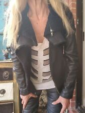 All Saints Shearling Leather Jacket Sz 8/4/36