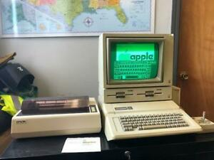Apple II e Computer from 1985-86 with Duodisk, JoyStick, Epson Printer, Boxes