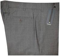 $395 NEW ZANELLA DEVON GRAY TONES PLAID SUPER 120'S WOOL DRESS PANTS 32