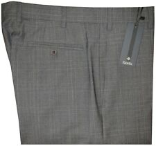 $395 NEW ZANELLA DEVON GRAY TONES PLAID SUPER 120'S WOOL DRESS PANTS 32