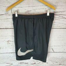 Nike Running Shorts Mens Large Black Brief Lined White Swoosh Logo