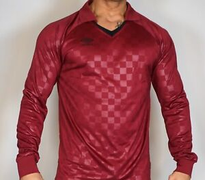 MEN'S LONG SLEEVE CHECKERED UMBRO POLYESTER MAROON T-SHIRT ADULT L