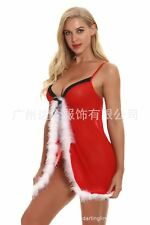 Sexy Christmas Outfit Santa Costume Lace Lingerie Slip Nightwear Sheer Chemise