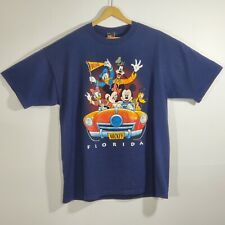 Vtg Disney Mickey Unlimited Florida Minnie Mouse Donald Duck Tee T-Shirt Blue XL