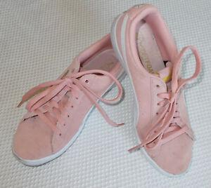 Pink Suede Puma Sneakers Tennis Shoes Athletic Walking Foam Insoles 6.5