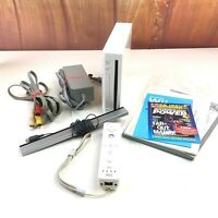 Nintendo Wii Console Bundle w/ Controller Manuals Cords Cables RVL-001 Tested