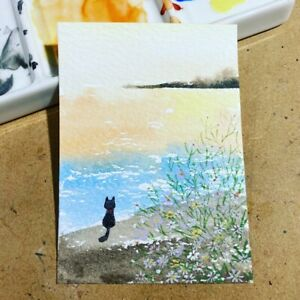 ACEO card- ORIGINAL-watercolour-roaming cat  sea