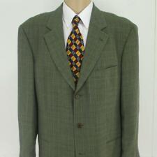 44 L Hugo Boss Olive Brown Gray Plaid Wool 3 Btn Mens Jacket Sport Coat Blazer