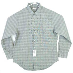 Calvin Klein Steel Mens Dress Shirt Charcoal Check LS Button Stretch 17.5 34/35