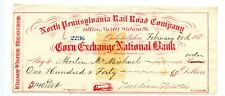187?    Philadelphia.  Revenue Railroad Check.Corn Exchange National Bank.