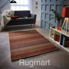 STRIPED RUST ORANGE HIGH QUALITY Modern Hand woven Wool Rugs & Runners -30%OFF