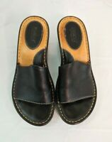 Born Womens Open Toe Wedge Mules Sz 7 Black Sandal Heels Slides Leather EU 38