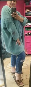 Duck Egg Blue Soft Mohair blend knitted Boyfriend Slouch Star Cardi Onesize10-22