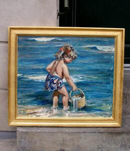 Soren Brunoe (1916) Bathing on the Beach. Large impressive impressionist oil.