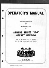 "ATHENS SERIES ""126"" OFFSET HARROW OPERATOR'S MANUAL-REPAIR PARTS LIST-SETTING-UP"