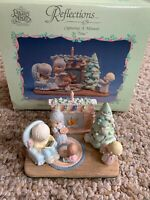 PRECIOUS MOMENTS Miniature Pewter '89 FAMILY CHRISTMAS SCENE 6 Pc Set Enesco NOS