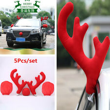 5Pcs Red Plush Antlers Nose Mirror Cover Car Costume Christmas Decoration Kit