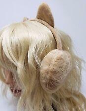 Minky Accessories Faux Fur Earwarmers with Cat Ears, Earmuffs, Taupe
