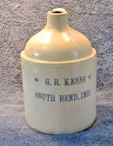 Antique Stoneware Advertising Jug G. B. KENNE SOUTH BEND IND. RARE Whisky? LOOK!