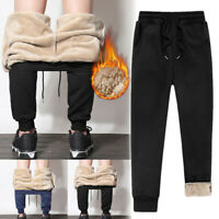 Mens Athletic Pants Fleece Lined Thick Trousers Loose Warm Joggers for Winter