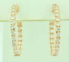 14k Solid Rose Gold Natural hoop Diamond earring snap lock Inside outside 2ct