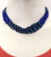 Glass Bead Necklace Choker Multi Strand Statement Jewelry Gypsy Bohemian Indie