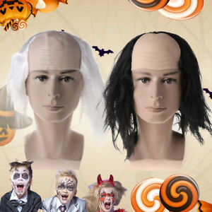 Halloween Wigs Bald Hair Masquerade Funny Cosplay Costume Party Prop Black/White