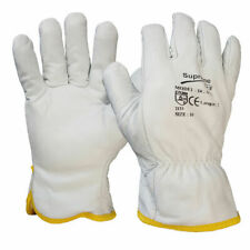 10 Pairs Soft Fleece Cotton Lining Leather Lorry Drivers Safety Work Gloves DIY