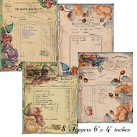 8 Card Toppers Junk Journal Ephemera Vintage Collage Sheets paper Crafts Scrap