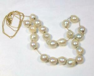 Fine Vintage Estate 14K Yellow Gold & Real BAROQUE PEARLS Necklace - 9.5 grams