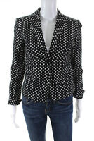 Diane Von Furstenberg Womens Polka Dot One Button Blazer Jacket Black Size 0