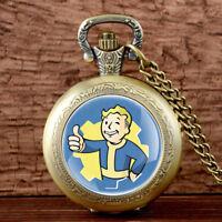 Antique Fallout Shelter Pocket Watch Pendant Necklace Chain Quartz Vintage Gift