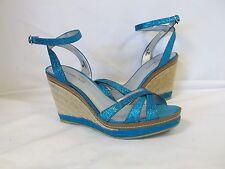 Bandolino 8 M Kahlia Blue Glitter Open Toe Wedges New Womens Shoes NWOB