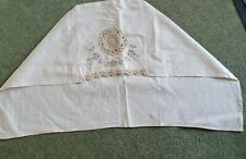 Vintage set of 4 embroidered cotton chair back covers.